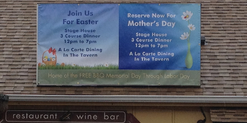 4' x 8' banner at the Stage House Tavern 366 Park Ave Scotch Plains NJ