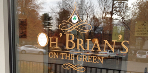 Cut vinyl logo for Oh' Brian's on the Green Raritan Road, Clark, NJ