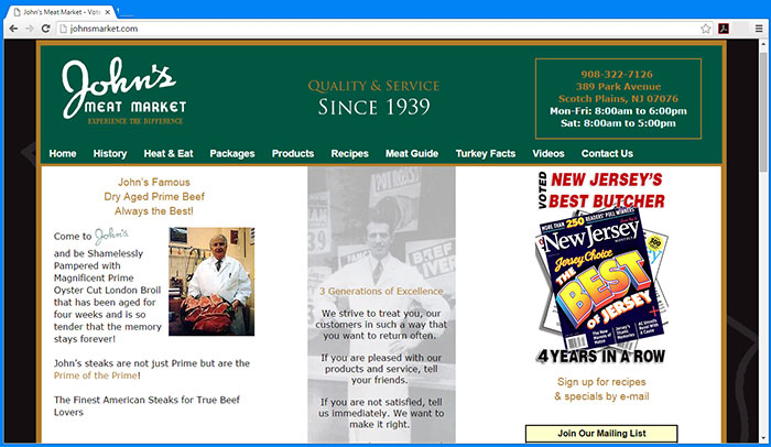 John's Meat Market Website
